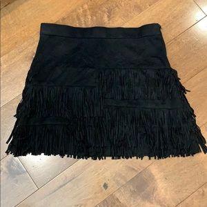 Zara Trafaluc Suede Fringe Skirt